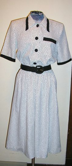 80s white black dots dress Justin Thyme 10 by ChloeandNatalieVtg, $49.00