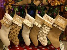 Burlap Stockings, Christmas Stockings, burlap decor, personalized stockings, Monogrammed, Ruffles, Shabby Chic