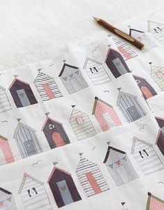 Belles maisons de Brown sur le coton U059 par SonSu sur Etsy