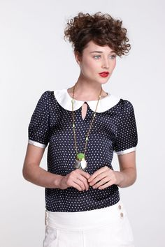 Retro Polka-Dotted Blouse - Anthropologie.com