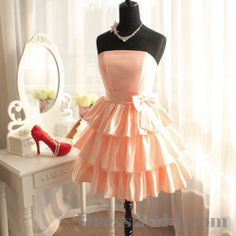 Short Ruffle Formal Dress. The Bow Is Just Gorgeous.