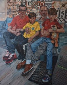 Two Dads and Two Adopted Boys- family portrait by Simon Davis - The Royal Society of Portrait Painters