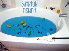 Bath tub fishing! So cool..!