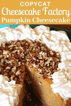 Cheesecake Factory Pumpkin Cheesecake, Cheesecake Factory Recipes, Pumpkin Cheesecake Recipes, Pumpkin Recipes, Pumpkin Cheescake, Ricotta Cheesecake, Raspberry Cheesecake, Easy Desserts, Delicious Desserts