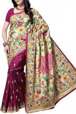 Pearl White & Multi-colored Floral Nakshi Kantha Soft Silk Saree - Kantha CraftArt | Shop Online at Ethnickart India's Best Ethnic Weares & Wares