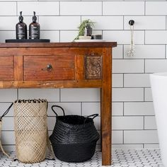 Main bathroom with vintage timber vanity Timber Vanity, Long Sofa, New Living Room, Coastal Homes, Entryway Tables, Beach House, Home Improvement, Rooms, Bathroom