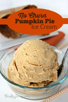 No Churn Pumpkin Pie Ice Cream Recipe is easy to make with no special equipment needed. Just mix together 5 ingredients and let it set in the freezer. Low Carb Ice Cream, Ice Cream Pies, Ice Cream Flavors, Ice Cream Recipes, Pumpkin Pie Ice Cream Recipe, Homemade Ice Cream, Achiote, Mantecaditos, Pumpkin Dessert