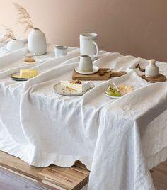 Athena Calderone's 36 Stylish Must-Have Kitchen Essentials Brunch, Linen Tablecloth, Linen Napkins, Tablecloths, Linen Bedroom, Boho Home, Kitchen Upgrades, Ceramic Tableware, Reception Table