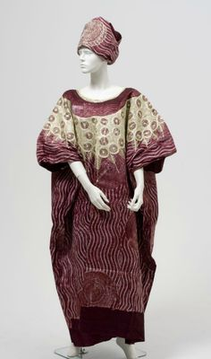 Women's resist-dyed caftan and headcloth, 1990-5, Nigeria.