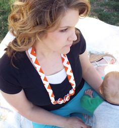 Nursing Teething Necklace- 100% cotton fabric covered natural wooden beads-  Orange Chevron