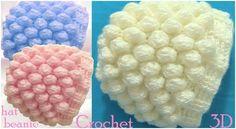 Crochet Beanie Hat with Snow Balls Stitch - Free Pattern [Video] Crochet Quilt, Crochet Squares, Crochet Stitches, Knit Crochet, Crochet Hooded Scarf, Crochet Beanie Hat, Beanie Hats, Crochet Ball, Crochet Hats