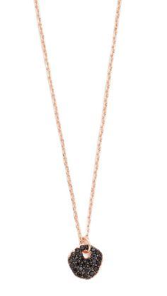 Tai Stone Charm Necklace - Rose Gold/Black