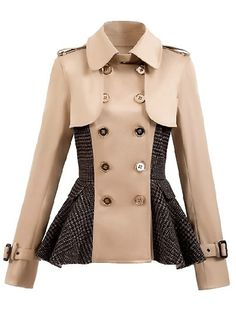 Paneled Double-breasted Peplum Coat