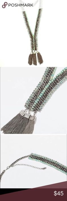 "Zara Long Silver Teal Statement Necklace  Your ZARA fix is here!  This beautiful statement piece is in great condition. 22"" long // Silver+Teal Color No missing stones I ship same-day from pet/smoke-free home. ❌No trades  HAVE FUN WITH IT  Zara Jewelry Necklaces"