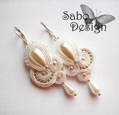 Soutache earrings handmade embroidered in white gold by SaboDesign, $54.00