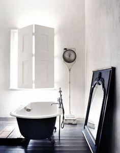 black wooden floors & white walls