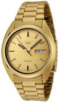 Seiko 5 SNXL72 Men's Watch Automatic Stainless Steel Gold Dial with Day/Date