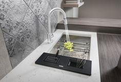 BLANCO QUATRUS stainless steel sink with custom accessories.