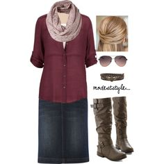 """""""Red and denim"""" by modeststyle-studio on Polyvore"""