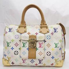 2c739fab9af5 Louis Vuitton Speedy Monogram 30 Limited Edition White Multicolor Satchel