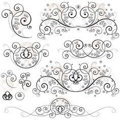 Swirl Flourishes Floral Curls Classic Twisted Line Retro Black Circle Foliage Foliate Horizontal Ornament Graphic Vintage Illustration 10116 #SwirlFlourishes #FloralCurls #ClassicRetro Foliage