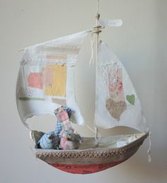 I love these boats. I can picture them flying around in the girls room. Fun Crafts, Diy And Crafts, Paper Crafts, Paper Mache Projects, Ann Wood, Girl Room, Cool Toys, Altered Art, Diy For Kids
