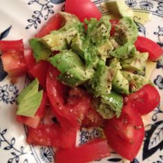 Simple yet perfectly refreshing- chopped tomatoes and avocado drizzled with olive oil and rosemary salt.