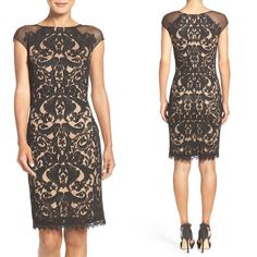 Tadashi Shoji Fishnet and Mesh Sheath Dress #dress #formaldress #weddingguestdress #lacedress #womenfashion