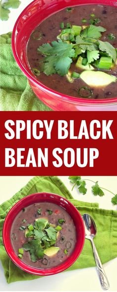 ... spicy black bean soup is made with with creamy blended black beans