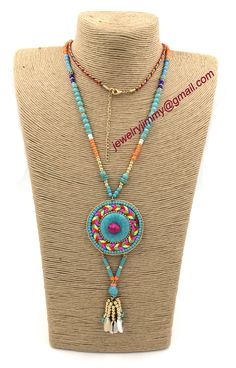 Find More Pendant Necklaces Information about 2015New personalized handmade jewelry supplier Turquoise pendant beaded chain boho long Necklaces for women ,High Quality Pendant Necklaces from J&M Fashion Items on line on Aliexpress.com