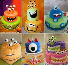 Monster Birthday or Party cakes Monster 1st Birthdays, Monster Birthday Parties, Monster Party, Monster Cakes, Fancy Cakes, Cute Cakes, Awesome Cakes, Crazy Cakes, Halloween Birthday