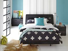 Slimline Charcoal Wood..My Design Bed Frame (tapered headboard & floating base): QS Tapered Head/Floating Base