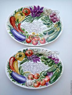 Купить Роспись фарфора Блюдо для шашлыка - роспись фарфора, роспись по фарфору, роспись фарфора на заказ