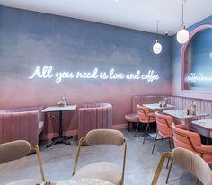 Home Decoration Online Stores Coffee Cafe Interior, Coffee Shop Interior Design, Restaurant Interior Design, Bakery Shop Design, Cafe Design, Design Art, Design Ideas, Pink Cafe, Architecture Restaurant
