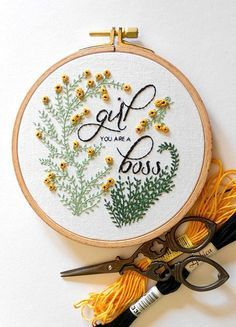 Girl Boss Embroidered Hoop | RedWorkStitches on Etsy