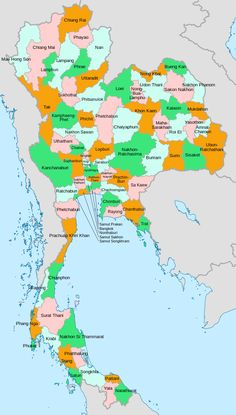 A clickable map of Thailand exhibiting its provinces. For a map lesson Need to add the compass with directionals.