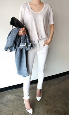 Loving the oatmeal top, white jeans and white heels look. Gotta get me some white heels!