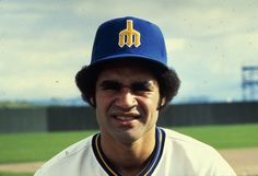 #Mariners second baseman Julio Cruz's hat was the only thing that could contain his fro.