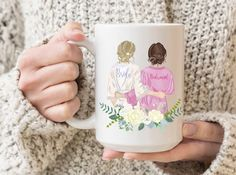 Custom bridesmaid mug. Will you be my bridesmaid? Maid of honor mug. Pick your hair bridal shower mug. Bridesmaid Mug, Will You Be My Bridesmaid, Bridesmaid Proposal, Best Friend Mug, Friend Mugs, Wedding Gifts For Bride, Bride Gifts, Book Lovers Gifts, Gifts In A Mug