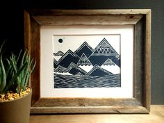 Linocut Print - Abstract Tribal Mountains Illustration / 8 x 10 Wall Art / Black, Gold, Silver, Gray, Blue, Green, Red by printwork on Etsy https://www.etsy.com/listing/124300879/linocut-print-abstract-tribal-mountains