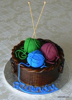 For my birthday. But with different yarns colors. I love this! http://cakenotes.com/post/3779666408/knitting-basket-case#