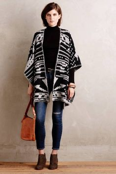 Jacquard Blanket Poncho by White and Warren #anthrofave
