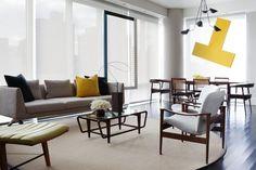 Chaise Lounge by Edward Wormley, Sofa by De La Espada, pair of Chairs by Fredrik…