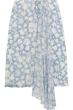 Sky-blue and white silk-georgette and crepe de chine  Concealed hook and zip fastening at back  100% silk; lining: 100% polyester  Dry clean  Designer color: Cupid Blue