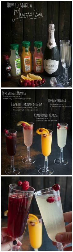 How to make a mimosa bar, how to set up a mimosa bar, four different mimosa recipes, #mimosa #mimosabar #brunch #cocktails