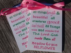 All things bright & beautiful Baby Girl Baptism Christening First Holy Communion Wildflowers or Sunflowers Flower Seeds Packets Party Favors. $21.00, via Etsy.