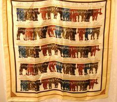 Daniel Hechter hanks of yarn polyester scarf large square excellent vintage ll3078