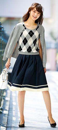 【ニッセン】通勤・オフィスのコーデ:レディース 2017秋冬コーディネート Fall Winter, Autumn, Young Women, Women's Fashion, Japanese, Female, Style, Swag