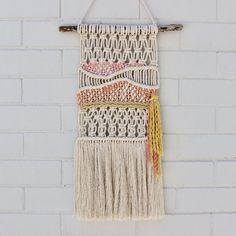 The prettiest woven wall hanging with texture galore. Macrame knots and weaving techniques make this piece truly unique. Made with hand-dyed yarns and natural cotton, this piece is sure to brighten. Macrame Wall Hanging Patterns, Macrame Plant Hangers, Macrame Art, Macrame Knots, Macrame Patterns, Woven Wall Hanging, Tapestry Wall Hanging, Wall Hangings, Weaving Projects