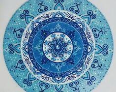 Mandala mdf 1° Raio Azul 50cm